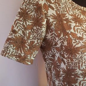 LuLaRoe Dresses - Lularoe Amelia Dress Brown Cream Floral Mod Boho M